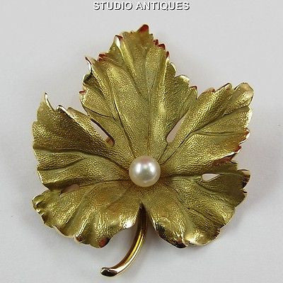 TIFFANY & CO Vintage 14K YELLOW GOLD LEAF w/ PEARL 7.7 Grams BROOCH PIN Signed