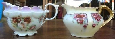 Antique Hand Painted RS PRUSSIA CHINA Floral Creamer