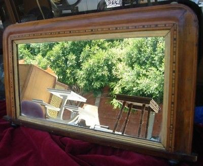 Antique VICTORIAN DRESSING TABLE MIRROR Inlaid Pattern