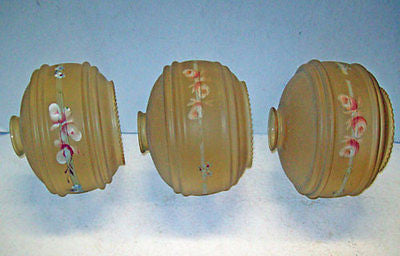 3 Art DECO Lamp LIGHT Shades GLOBES Hand PAINTED Floral