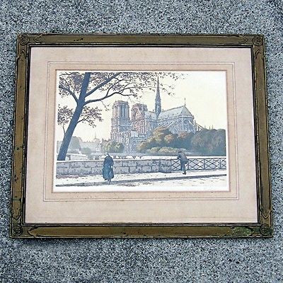 Vintage Framed & Matted Hand Tinted PLATE PRINT of Notre Dame Cathedral France