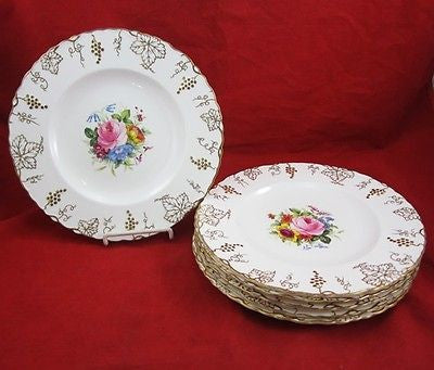 6 ROYAL CROWN DERBY Vine Pattern DINNER PLATES Porcelain C1930 ENGLAND Floral