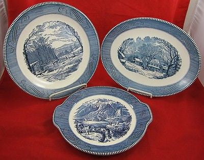 Vintage ROYAL CURRIER & IVES CERAMIC PLATES Blue US Americana American Portrait