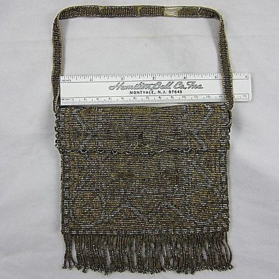 Antique/Vintage FRENCH Purse Czechoslovakian Faceted Metal Beads