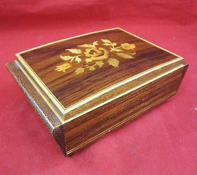 REUGE SWISS Musical Movement MUSIC BOX EDELWEISS WOOD Inlay Floral ITALY Flower