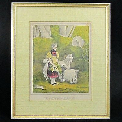 ANTIQUE D.W. Kellog Hand Colored Print Matted Framed The Shepherdess of the Alps