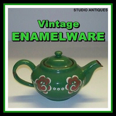 GREEN ENAMELWARE Vintage TEAPOT + LID Raised Decoration