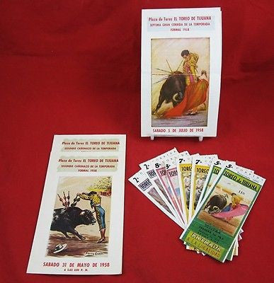 1958 BULLFIGHTING TICKETS & PROGRAMS Plaza De Toros TIJUANA MEXICO Matador Lot