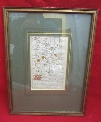 Antique Two Sided COLOR MAP 18th Century England Briton Framed Wall Hanging
