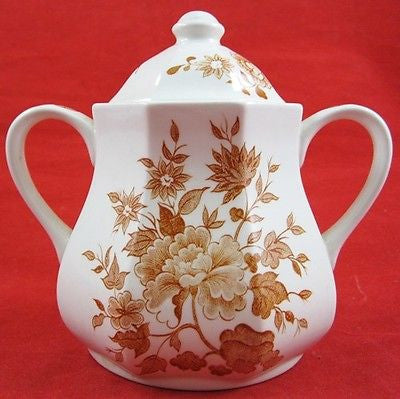 ROYAL STAFFORDSHIRE OLD PEKIN PORCELAIN COVERED SUGAR BOWL Floral Transferware