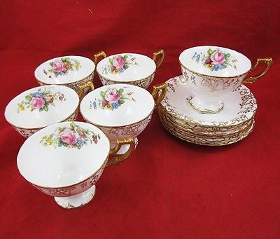 6 ROYAL CROWN DERBY VINE Pattern CUP & SAUCER Sets Porcelain C1930 ENGLAND Tea