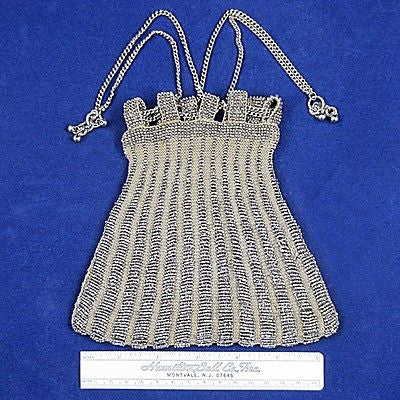 Vintage/Antique Knitted Panel Purse Victorian Steel Faceted Beads Womens Coutour