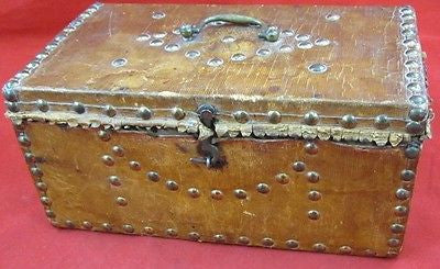 Antique GEORGIAN DECORATIVE BOX Leather Cover Brass Nails BAGGAGE BATTLES Wood