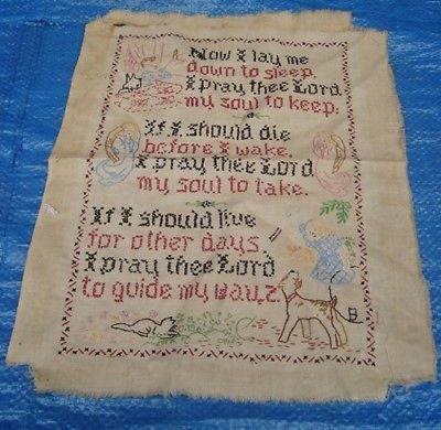 Antique NEEDLEPOINT SAMPLER Lord's Prayer Child Canvas