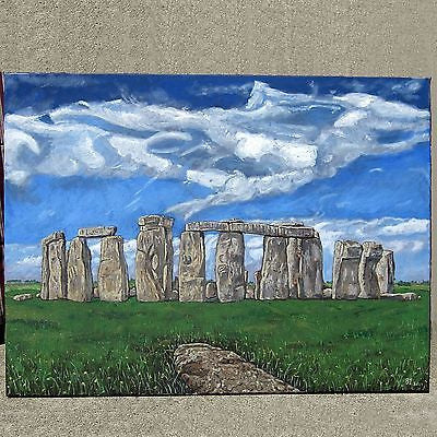STONEHENGE Original Oil on Canvas Artwork So. Cal Artist Bruce Irwin 2011 Pagan