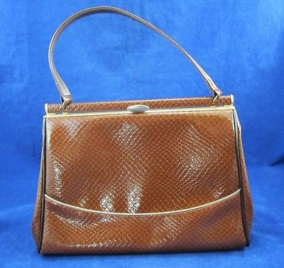 ELBIEF England FAUX REPTILE SNAKE Skin Gold Trim BROWN Clasp Purse HANDBAG Retro