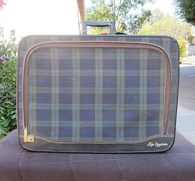 VINTAGE AIR CRUISER Blue & Green PLAID SUITCASE Retro Travel Luggage LEEDS Case