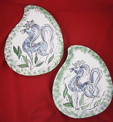 2 FREE FORM Slip Cast PLATTERS Low Fire Charger PLATES Hand Painted HORSE LEAVES