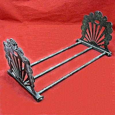 Antique Telescoping Folding Bookend Rack Art Nouveau Cast Brass