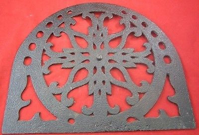 Antique FIREPLACE SCREEN CAST IRON Rustic Hearth Shield Pitted Metal Covering