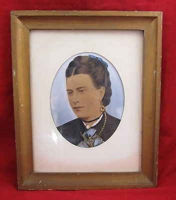 ANTIQUE HAND PAINTED PHOTOGRAPH Photo Victorian WOMAN Lady Framed Portrait Color