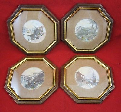 4 Antique Vintage HAND TINTED PRINTS Riverside TOWN Tributary PORT Octagon FRAME