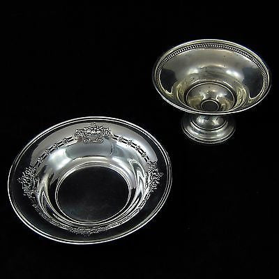 BAKER-MANCHESTER Antique STERLING SILVER Pierced Repousse BOWL + Footed Compote