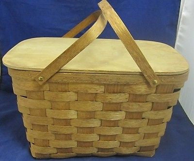 Vintage PICNIC BASKET BASKETVILLE Vermont Hand Made Split Oak Brown Handles