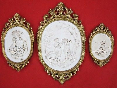 CAPODIMONTE Style PORTRAITS Gold Gilt Frames CHERUB VIRGIN MARY Jesus PLAQUE Lot