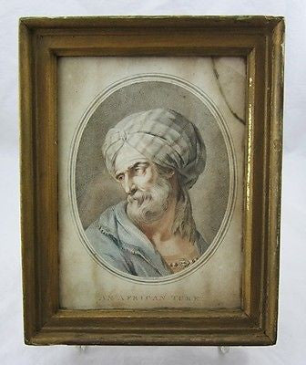 1775 F.M. PICOT No. 16 Colored LITHOGRAPH AN AFRICAN TURK Framed Antique Art