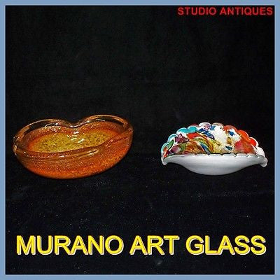 (2) MURANO Art Glass BOWLS Rainbow OPALESCENT Vintage