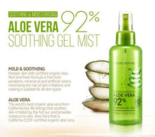 Load image into Gallery viewer, Aloe Vera 92% Soothing Gel Mist The Soothing Gel Mist is a gel mist that moisturizes and protects the skin against the harmful environment. It is formulated with California CCOF-certified organic aloe and can be used on the face, arms, and legs.