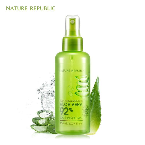 Aloe Vera 92% Soothing Gel Mist The Soothing Gel Mist is a gel mist that moisturizes and protects the skin against the harmful environment. It is formulated with California CCOF-certified organic aloe and can be used on the face, arms, and legs.