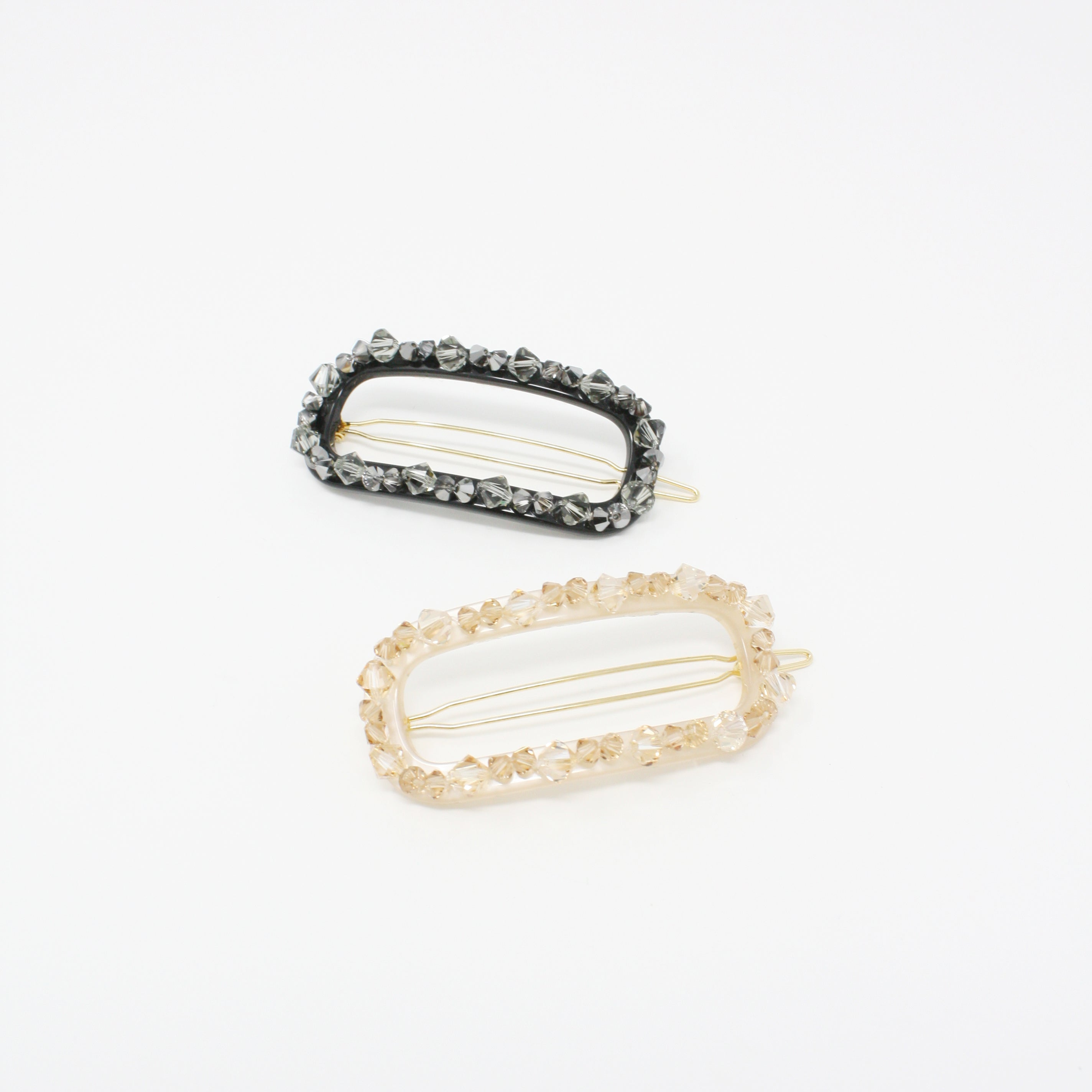 BZSL0397 - Oval Hair Barrette with Multi Crystal