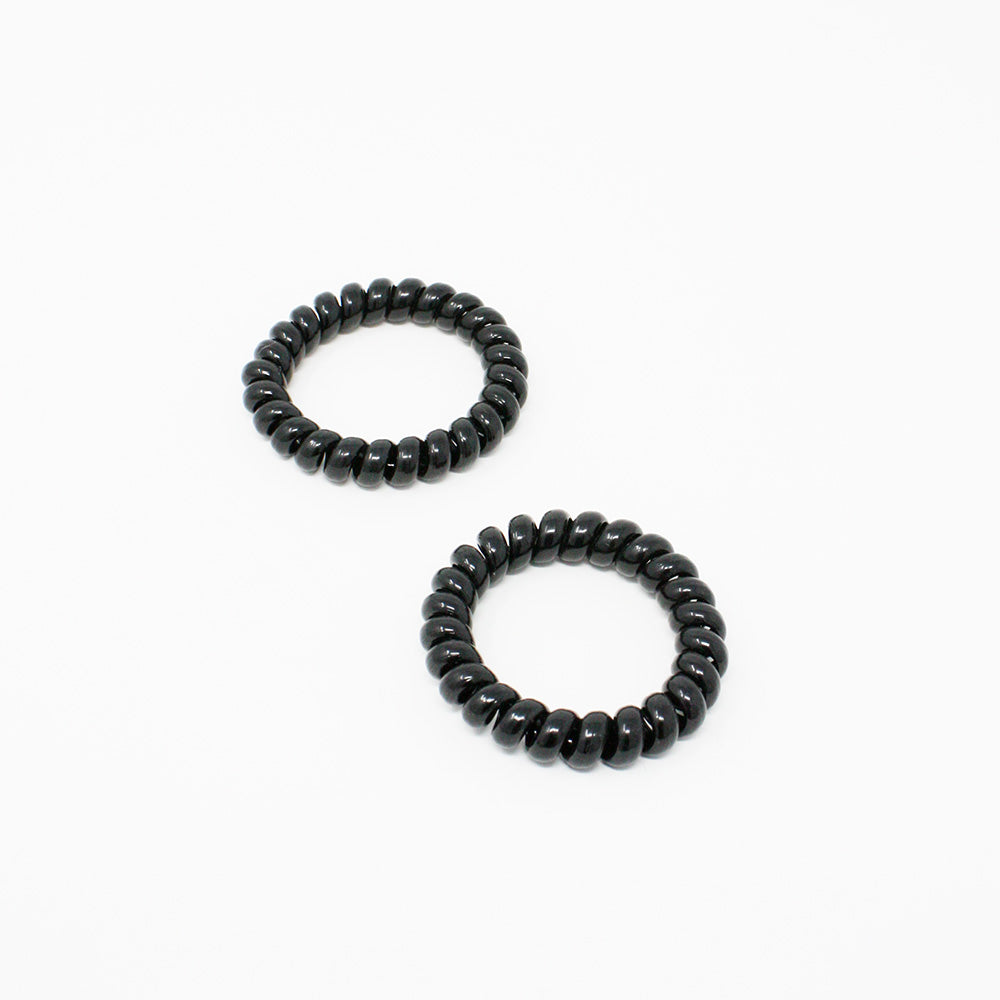 Kostte - Coil Hair Tie(Large) - Black 2pcs