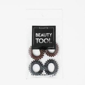 Kostte - Coil Hair Tie(Small) - Black + Brown 4pcs