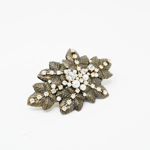LFAC0239 - Leaf Barrette with Pearl and Crystal