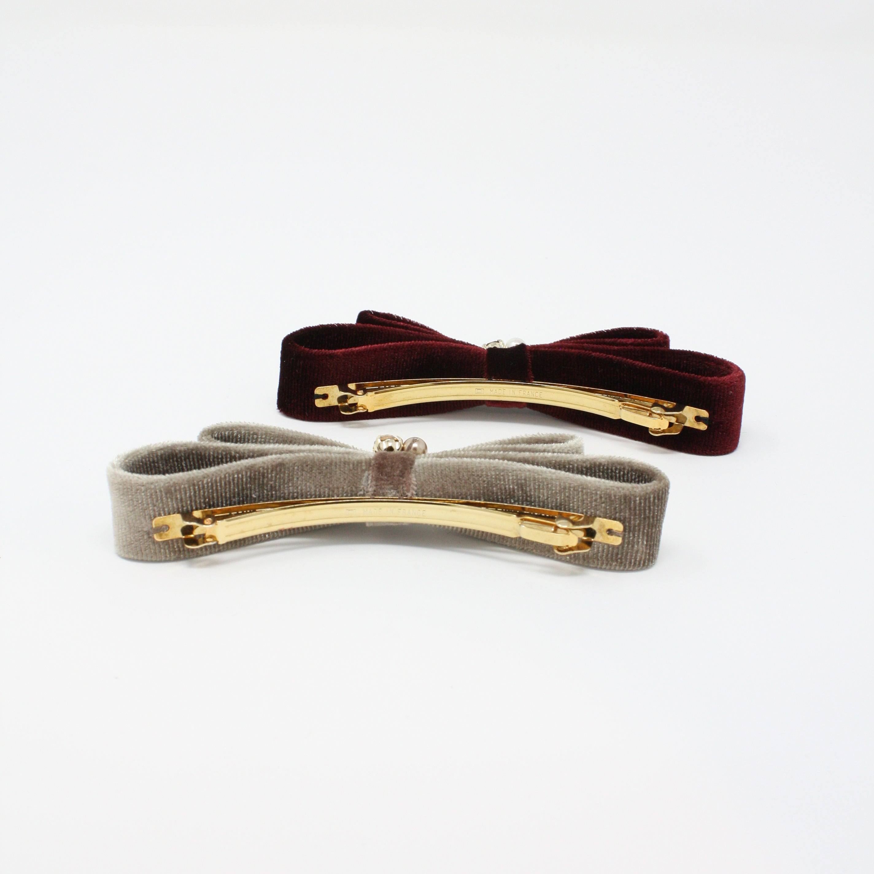 LFAC0281 - Velvet Double Bow Barrette with Crystal and Pearl