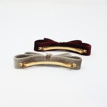 Load image into Gallery viewer, LFAC0281 - Velvet Double Bow Barrette with Crystal and Pearl