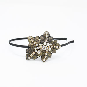 LFHB0474 - Leaf Headband with Pearl and Crystal Detail
