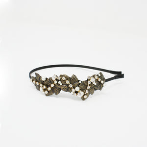 LFHB0475 - Multi Leaf Headband with Pearl and Crystal