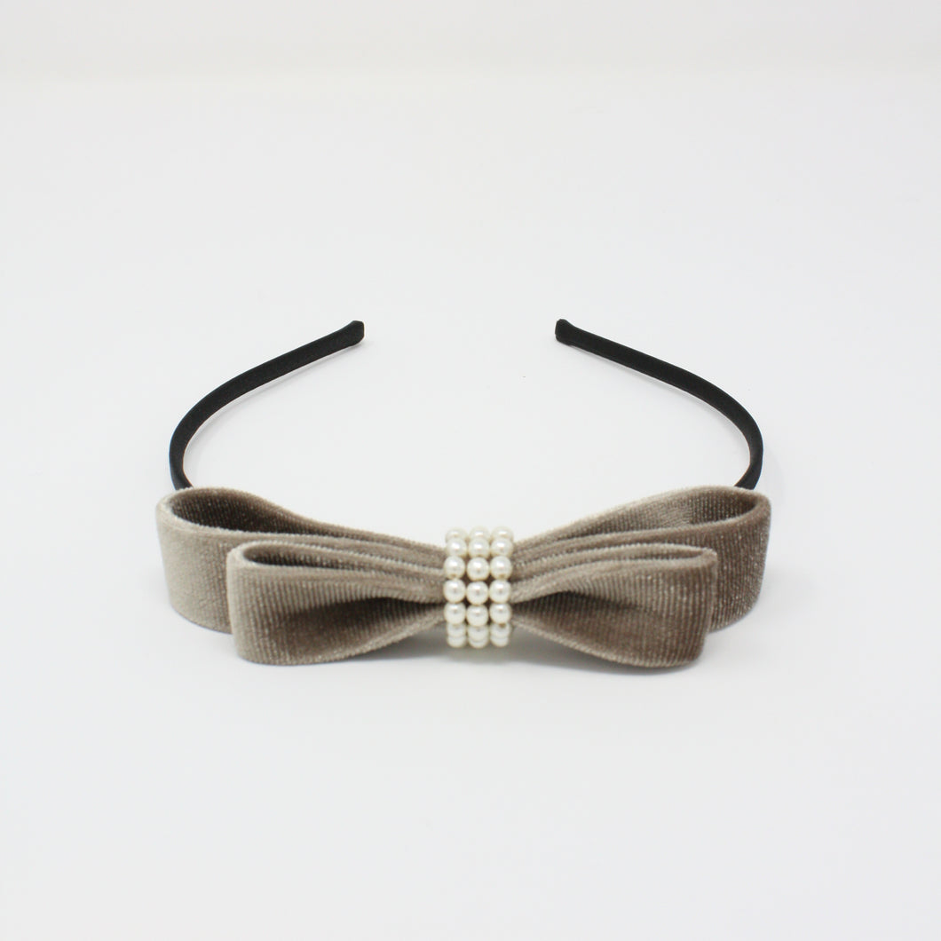 LFHB0605 - Layered Velvet Bow Headband with Pearl