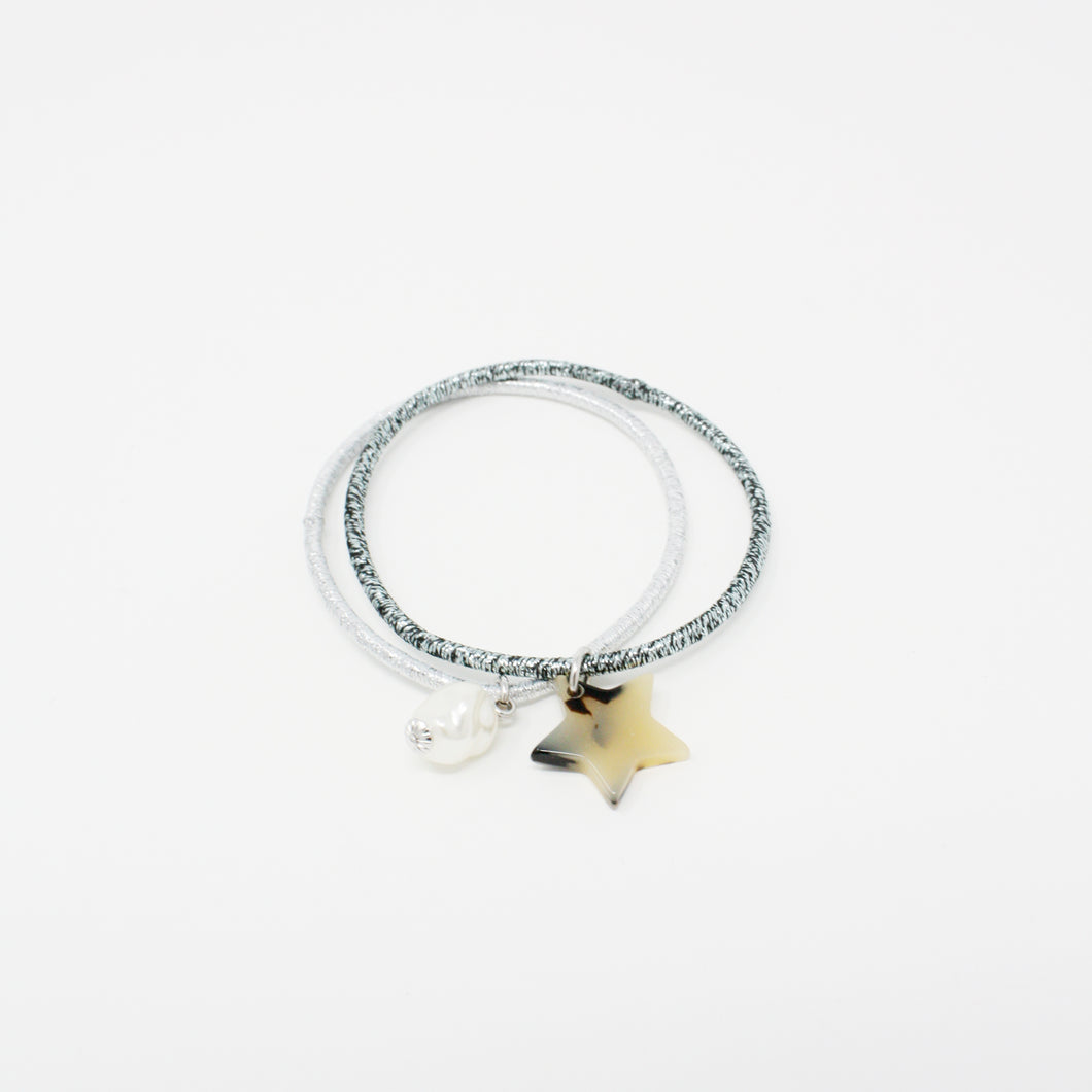 LFPT0639 - Pearl and Star Charm Hair Tie