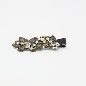 LFSL0185 - Leaf Hair Clip with Pearl and Crystal