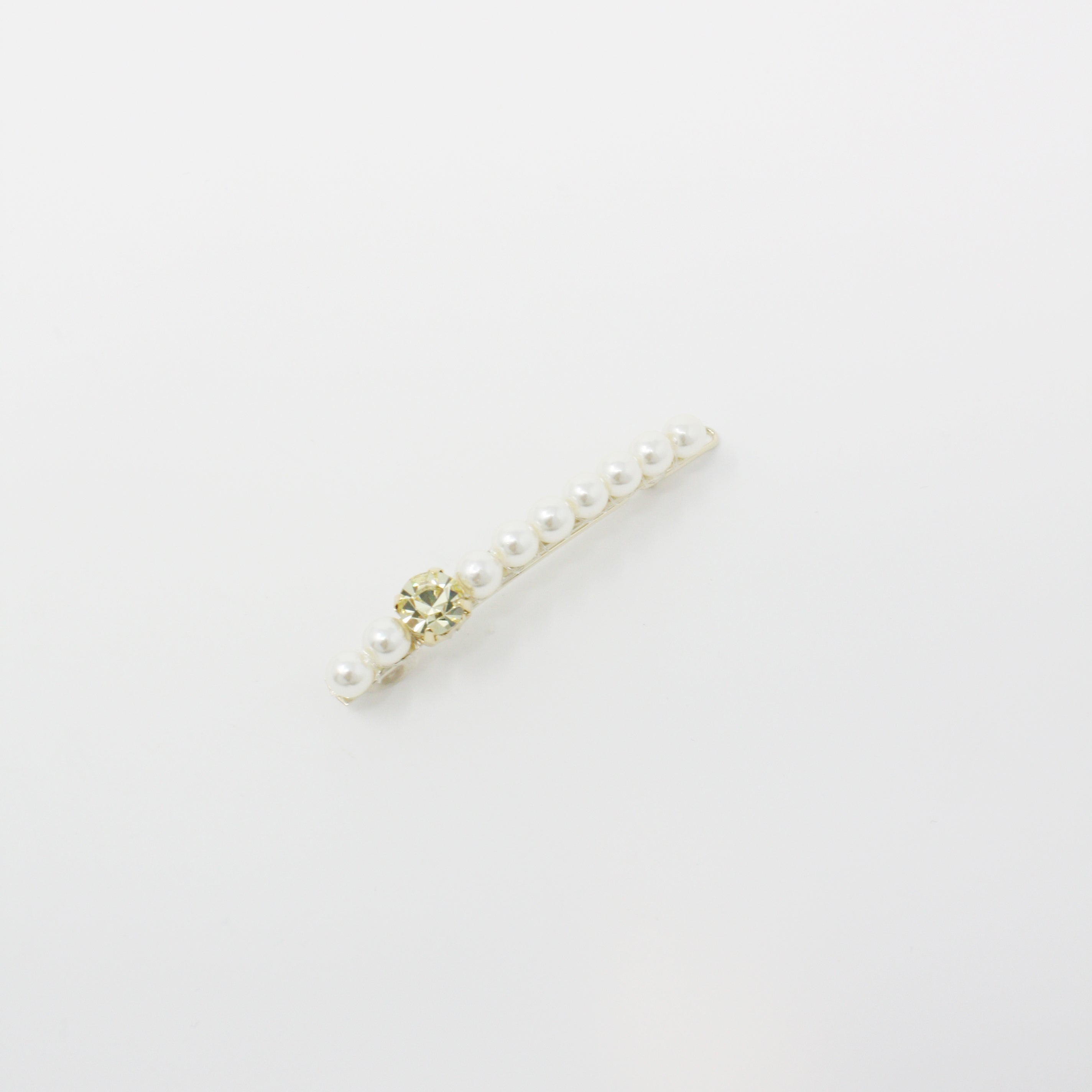 LFSL0250 - Pearl Lined Clip with Yellow Crystal Point