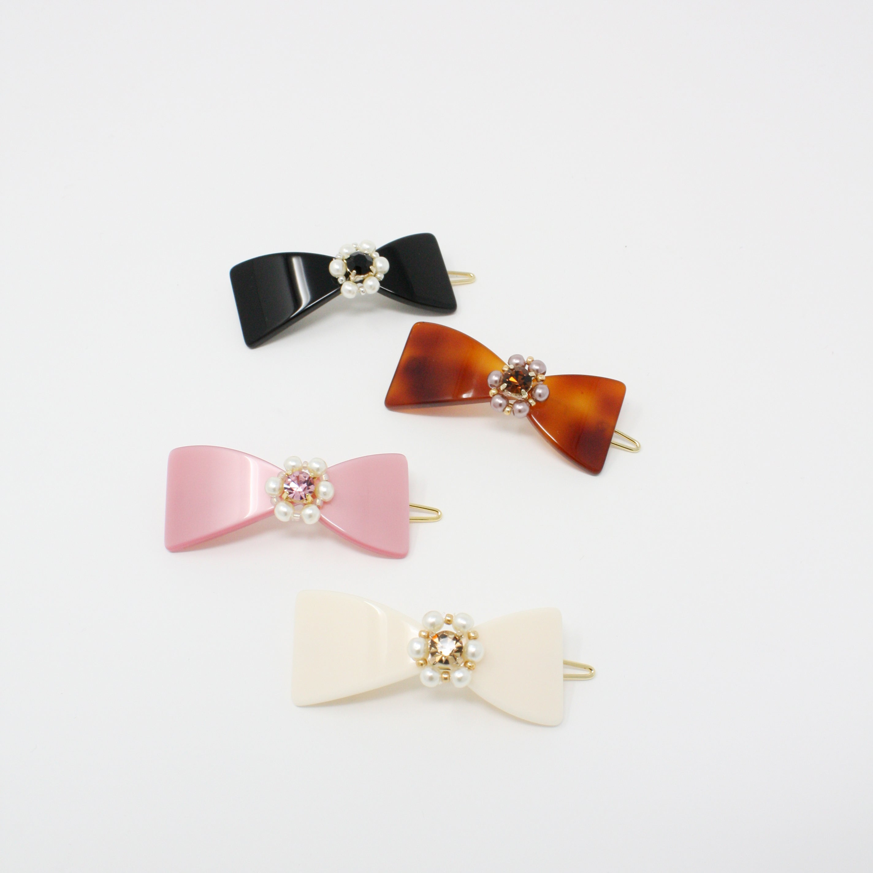 LFSL0259 - Bow Hair Barrette with Crystal & Pearl Point