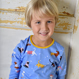 Pyjamas - blue cats & dogs - mustard trim