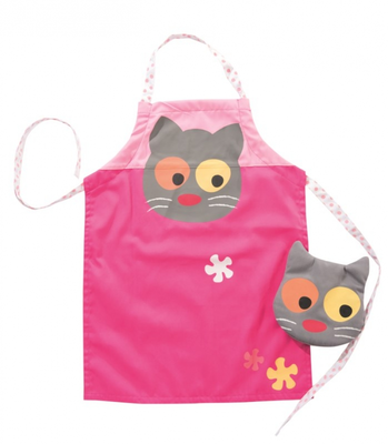 Apron and glove and flower cat