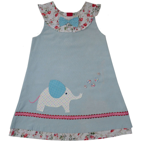 Dress - Blue with Little Elephant