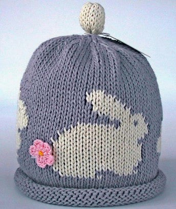 Bunny grey/cream hat (Size - 3 to 6 months)